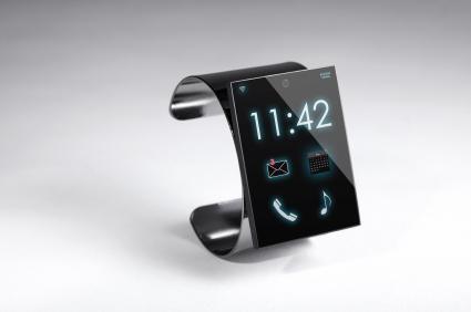 modern Internet Smart Watch on a grey background